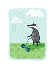 Badger Mowing the Lawn Art Print