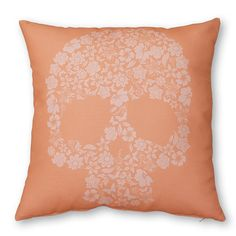 Coussin Skull Flowers Corail 40x40 cm / Cushion available on www.autreshop.com !