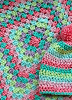 Giant granny square blanket and matching beanie. I adore these colors.