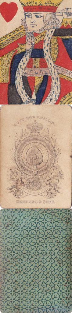 altes Kartenspiel mit anglo-amerikanischem Bild von Reynolds & Sons um 1850
