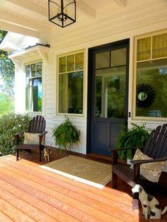 Modern Sonoma Farmhouse-door, cover over window, wood porch, light.