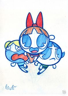 It's been so long since I watched this show. My favorite was bubbles. She was shy but when you got her angry, she will go Loco on you Cartoon Sketches, Art Drawings Sketches, Cartoon Art, Cute Disney Drawings, Cute Drawings, Pinturas Disney, Little Doodles, Dibujos Cute, Cool Cartoons