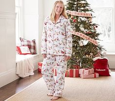 North Pole Adult Flannel Pajama, Small, Red Multi