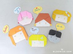 DIY ORIGAMI : DIY paper doll faces and speech bubbles
