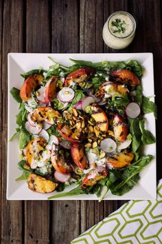 Grilled Peach Salad with Baby Arugula, Pistachios and Lemony Yogurt Dressing