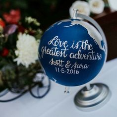 Wedding globe for guests to sign. See 25+more Wedding Guestbook Ideas at http://southernbride.co.nz/wedding-guestbook-ideas/
