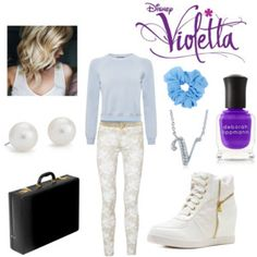 A fashion look from April 2015 featuring blue crop top, blue tank top and mid-rise jeans. Browse and shop related looks. Girly Outfits, Disney Outfits, New Outfits, Casual Outfits, Summer Outfits, Cute Outfits, Violetta Outfits, Violetta Disney, Teen Girl Fashion