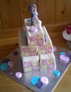 Battenburg Wedding Cake Maids, Wedding Stuff, Breads, Muffins, Wedding Cakes, Board, Food Cakes, House Cleaners, Wedding Pie Table