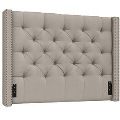 Pottery Barn Harper Tufted Upholstered Headboard (17,500 MXN) ❤ liked on Polyvore featuring home, furniture, beds, upholstered headboards, upholstery bed, nailhead upholstered headboard, upholstered nailhead bed and tufted upholstered headboard