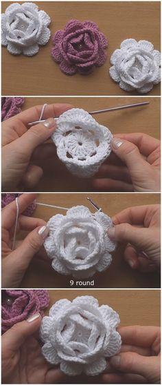 Easy To Crochet Flower Roses – Crochet Flowers – Roses, Motifs. – Easy To Crochet Flower Roses – Crochet Flowers – Roses, Motifs. Crochet Flower Tutorial, Crochet Diy, Crochet Flower Patterns, Crochet Stitches Patterns, Crochet Motif, Crochet Crafts, Crochet Flowers, Irish Crochet, Knitting Patterns