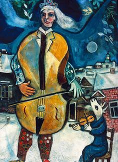 Le Violoncelle Marc Chagall (Russian-French, Pen and ink and wash on paper. Chagall's later canvases are remarkably different than his better-known earlier works. His colors and subjects appear more melancholy, and his painterly. Marc Chagall, Kandinsky, Chagall Paintings, Music Artwork, Jewish Art, Art Abstrait, Famous Artists, Oil On Canvas, Fine Art Prints