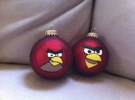 Angry Birds hand painted ornaments