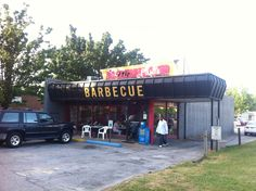 Yes, this is actually a place to eat... Little Paul's Barbecue, in the shadow of a big hospital, downtown Huntsville, Alabama