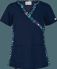 UA Color of Love Navy Mock Wrap Print Scrub Top Nurse Scrubs, Scrubs Uniform, Medical Scrubs, Navy Scrubs, Cna Nurse, Scrub Life, Casual Tops For Women, Scrub Tops, Caregiver