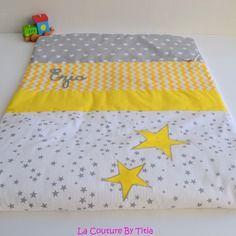 Couverture plaid bébé fait main etoiles gris et jaune chevron @lacouturebytitia