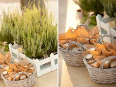 A Greek Flavored Wedding Party Presnall by De Plan V. Wooden boxes with greek herbs and baskets with hand made paper craft cones filled with rice. Santorini Wedding, Wedding Decorations, Table Decorations, Wedding Rustic, How To Make Paper, Wooden Boxes, Wedding Events, Wedding Planning, Greek
