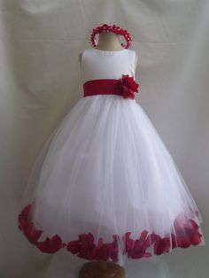 Red rose flower girl dress