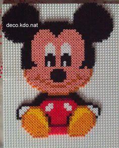 Baby Mickey hama beads by Deco. Hama Beads Disney, Hama Disney, Melty Bead Patterns, Pearler Bead Patterns, Perler Patterns, Beading Patterns, Perler Bead Templates, Diy Perler Beads, Perler Bead Art