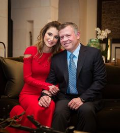 24 October 2016 - King Abdullah and Queen Rania at their home, Beit Al Urdun, where they host Queen Mathilde of Belgium - dress by Prabal Gurung