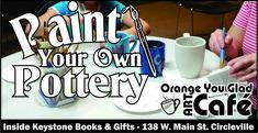 Orange You Glad Café - Keystone Books & Gifts Paint Your Own Pottery, Cafe Art, Orange You Glad, Book Gifts, Mugs, Books, Livros, Tumbler, Livres