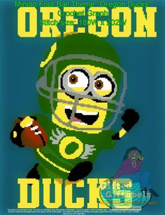 Inspired Football Theme Minion Crochet Graph Oregon Ducks Stitch Size:180W x 202H Page Printout:4 pages Project Skill level: Beginner in crocheting - Skillful PM me to customize graph