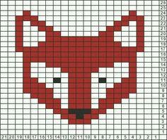 Pixel Grid – Animals Fox – Gridlines – – knittingpattern – knitting pattern for babies - Knitting Charts Fair Isle Knitting Patterns, Knitting Charts, Knitting Stitches, Free Knitting, Sock Knitting, Knitting Machine, Vintage Knitting, Motif Fair Isle, Fair Isle Chart