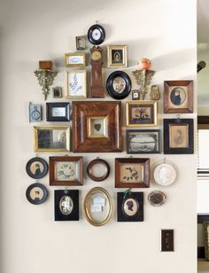 """Unexpected Ways to Incorporate Heirlooms & Antiques into Your Home """"The Wall of Smalls"""" is a work of art in its own right! Read more at """"The Wall of Smalls"""" is a work of art in its own right! My Room, Frames On Wall, Home And Living, Living Room Decor, Diy Home Decor, Wall Decor, House Design, Interior Design, Cheap Frames"""
