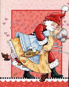 Santa kissing Mrs. Klaus / Mary Englebreit