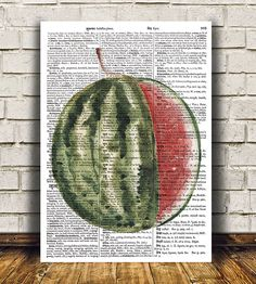 Beautiful Fruit art for your home and office. Lovely Watermelon print. Nice contemporary Watercolor print. Cute Kitchen poster. SIZES: A4 (8.3 x