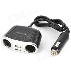 Brand: BESTEK; Model: MRS152UV; Quantity: 1 piece(s); Color: Black; Material: ABS; Power Supply: Car cigarette lighter; Input Voltage: 12V / 24V; Output Voltage: 5V; Output Current: 2.1A / 1A; Interface: Dual USB port dual car cigarette lighter; Application: Cellphone GPS Ipad; Other Features: Can turn DC 12V / 24V to 5V / 2.1A; Can charge for Ipad Iphone iPod various cellphones camera MP3 GPS and PSPetc; Packing List: 1 x Car charging socket (65cm cable); http://j.mp/1kUnwMz