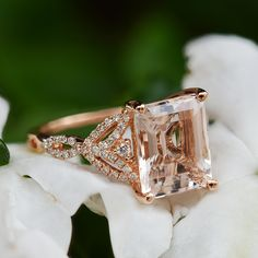 Nature Inspired Emerald Cut Morganite and Diamond Leaf Engagement Ring