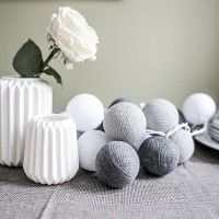 Qule Lampki Cotton Ball Gray & White 20 kul, filtr