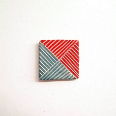 Porcelain Square Magnet with Sea Green and Red Carved Design by Jen E