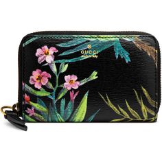 Gucci Tropical Print Leather Card Case (4.390 ARS) ❤ liked on Polyvore featuring men's fashion, men's bags, men's wallets, accessories, men, wallets, mens zip wallet, mens card case wallet, mens card holder wallet and mens wallets