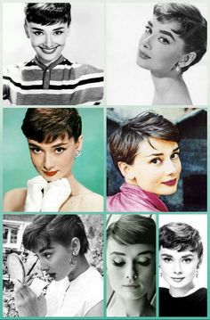 Audrey Hepburn pixie cut and makeup look — feminine af Audry Hepburn Hair, Audrey Hepburn Pixie, Audrey Hepburn Hairstyles, Vintage Pixie Cut, Vintage Short Hair, Celebrity Pixie Cut, Short Hair Cuts, Short Hair Styles, Choppy Bob Hairstyles