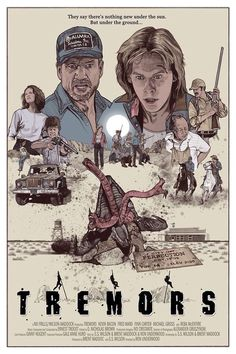 Best Film Posters : – Picture : – Description Tremors -Read More – - Best Movie Posters, Classic Movie Posters, Movie Poster Art, Classic Movies, Sci Fi Horror Movies, Scary Movies, Old Movies, Horror Art, Horror Movie Posters