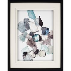 Geometric Pools. Falling geometric shapes are matted in white and framed in a matte black shadow box frame.