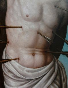 Detail of Saint Sebastian by Anonymous from Lombardy, first quarter of the century, National Museum in Poznań. St Sebastian, Tempera, National Museum, 16th Century, Anonymous, Detail
