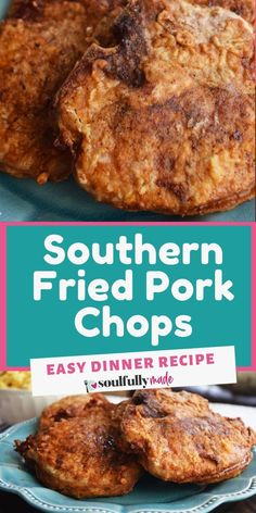 Southern-fried flavor is packed into these delicious fried pork chops with simple ingredients, tasty seasonings, and the perfect crunch! You'll have a delicious meal on the table in a hurry! A Food, Good Food, Yummy Food, Easy Dinner Recipes, Easy Meals, Yummy Recipes, Southern Fried Pork Chops, Southern Recipes, Southern Food