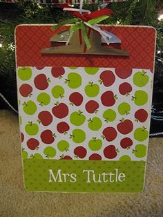 Clipboard Teacher's Gift- DO NOT use cardstock... might have worked otherwise.