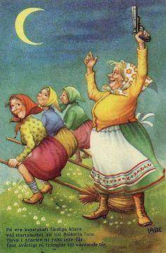 "Artist: Lasse Printed in Stockholm ""Glad Pask"" Swedish ~ Vintage Easter, Vintage Christmas, Paint Cards, Practical Magic, Oui Oui, Funny Art, Illustrations, Fantasy Art, Scandinavian"