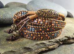 Chan Luu style, wrap bracelet, 5-wrap bracelet, copper, blue and iridescent tila beads, pattern by NimbleWitchCreative on Etsy