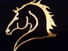 Textured gold mane and diamonds with sterling silver - Polished gold and silver with one diamond in the reverse side. Double Diamonds  Horse
