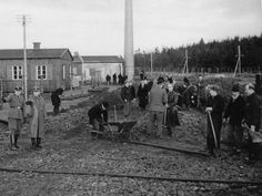 Prisoners at work by Frøslevlejrens laundry-In order to avoid deportation of Danes to German concentration camps, Danish authorities suggested, in January 1944, that an internment camp be created in Denmark. The German occupation authorities consented, and the camp was erected near the village of Frøslev in the south-west of Denmark, close to the German border. From mid-August until the end of the German occupation in May 1945, 12,000 prisoners passed through the camp's gates.