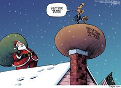 Up on the House Top by cartoonist Nate Beeler published on 2016-12-22 21:40:52 at Cagle.com. Nate Beeler is the award-winning editorial cartoonist for <em>The Columbus Dispatch.</em> GO OBAMA GO!!! YESSSSS!!!