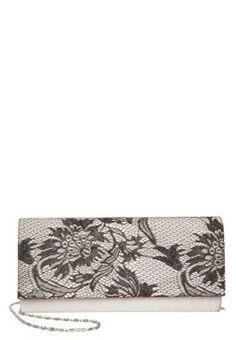 Anna Field Clutch - creme satin/black lace