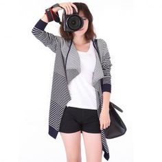 $8.93 Stripe Long Sleeves Cotton Blend Casual Style Cardigan For Women