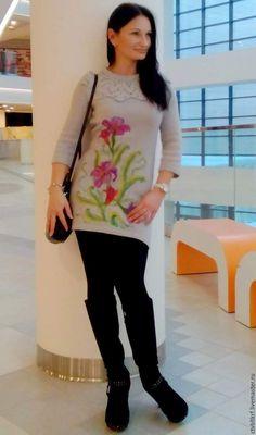 """Купить Платье вязаное """"Заветное желание"""" - валяный цветок, валяние на трикотаже, рисование шерстью"""