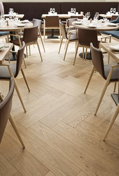Oak Herringbone parquet in Restaurant Bronda in Helsinki. Herringbone Wooden Floors, Wooden Flooring, Wooden Floors Living Room, Living Room Interior, Public Space Design, Room Ideas Bedroom, Cafe Restaurant, Floor Design, Helsinki