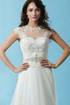 Style * BL126 * » Wedding Dresses » Black Label 2015 Spring Collection » by Eden Bridals » Available Colours : Ivory ~ Shown Sweetheart Bodice & Sheer Illusion neckline with Cap sleeves & a heavily Beaded Trim at waist (close up)